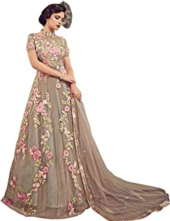 ba84c020f2 Siddharth Fab Women's Nylon Net Semi Stitched Salwar Suit Gowns (KN_cream)