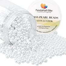 PandaHall Elite About 1000 Pcs 4mm Tiny Satin Luster Glass Pearl Bead Round Loose Spacer Beads for Jewelry Making White