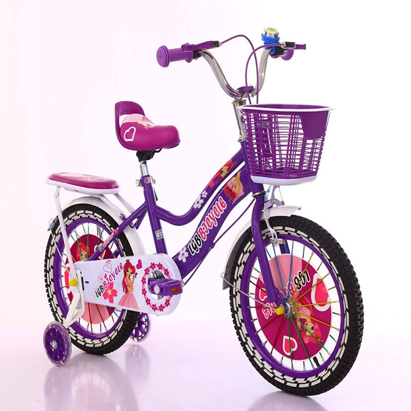 WY-Tong Bikes for Kids Kids Bike 2-6-Year-Old Baby Stroller Male and Female General Pedal Bike with Basket + Stabilizer