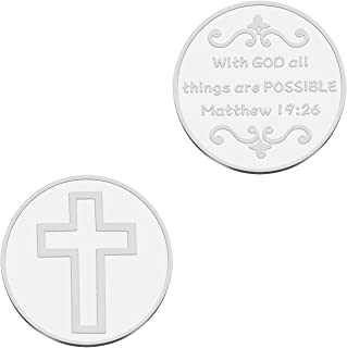 WUSUANED Chriatain Coin with God All Things are Possible Bible Verse Jewelry for Best Friend Family