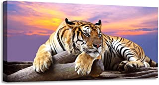youkuart Mi5001,Black & White One Panel Wall Art Painting Blue Eyed Tiger Prints on Canvas The Picture Animal Pictures Oil for Home Modern Decoration Print Decor for Kitchen