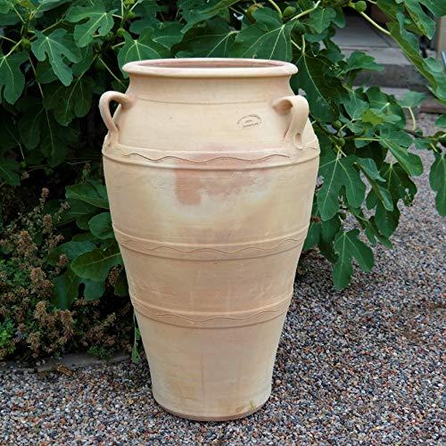 Kreta-Keramik hochwertige Terracotta Amphore mit Henkel | 70 cm | großes Pflanzgefäß | handgefertigt und frostfest | mediterrane Deko für den Garten Terrasse Außenbereich, Olea