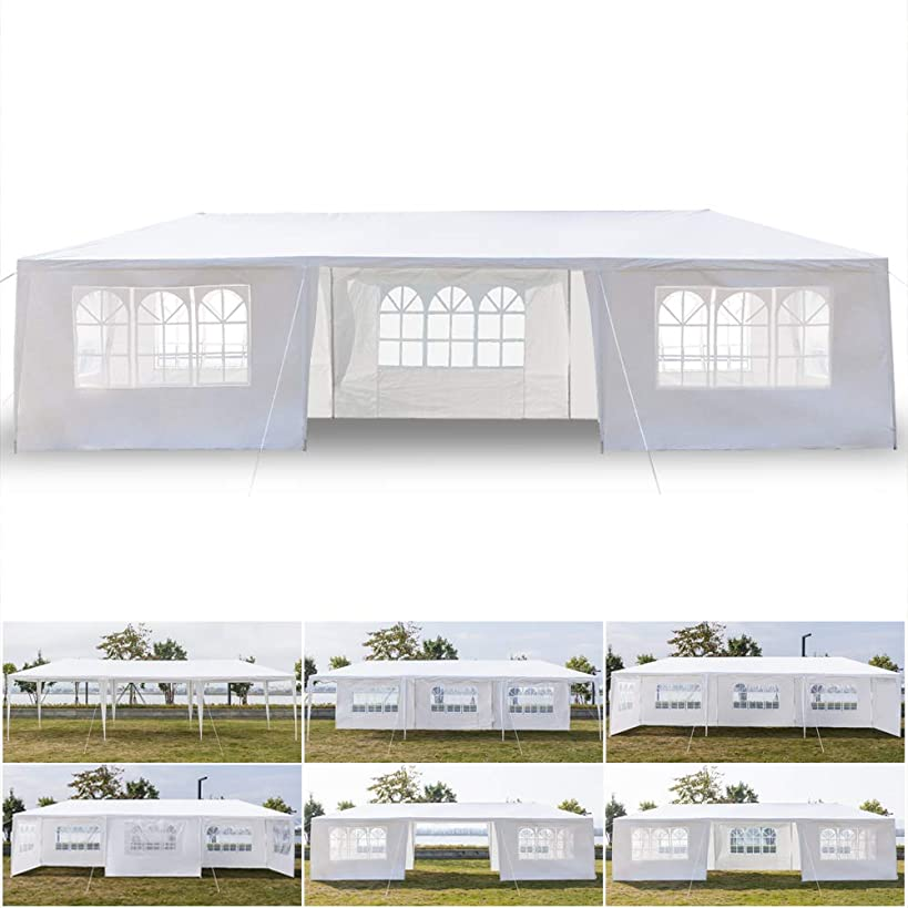 Canopy Tent with 7 Sidewalls and Windows Waterproof, 10 x 30 Feet Party Wedding Outdoor Patio Tent Shelter Canopy Heavy Duty Elegant Church (US Stock)