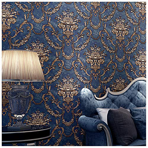 Blooming Wall Vintage French Damasks High Standard Textured Wallpaper Wall Paper for Livingroom Kitchen Bedroom,20.8 In32.8 Ft=57 Sq.ft, Dark Blue/Gold
