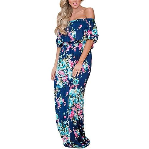 b666d994d8b6 Happy Sailed Women Floral Print Off Shoulder Maxi Dresses