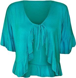 Womens Frill Tie Open Front Cardigan Ladies 3/4 Sleeve Fancy Stretch Bolero Shrug Top US 10-24