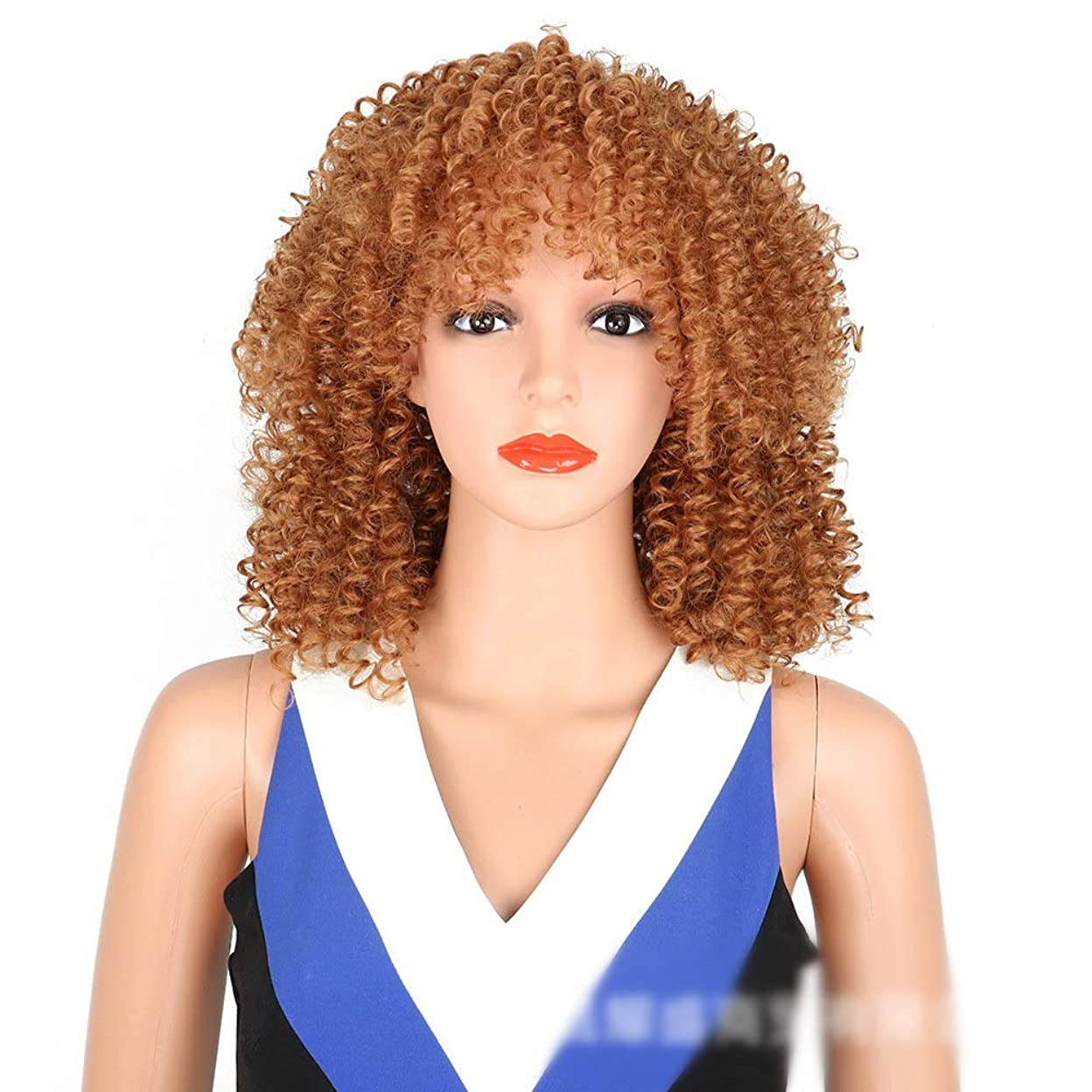配列と本物BOBIDYEE アフリカの黒人女性の前髪爆発ヘッドの小さな巻き毛のかつらコスプレパーティードレスパーティーかつら (Color : ブラウン)
