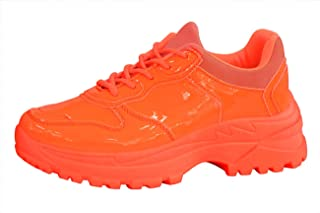 LUCKY-STEP Women Casual Leather Sneakers Stylish Non-Slip Lightweight Sports Walking Shoes Workout Fuchsia/Orange/Yellow/Green Shoes for Women