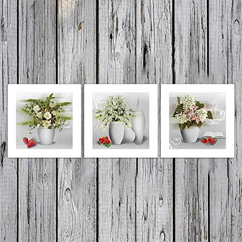 SHANYUR Muurschildering Foto's Afdrukken Op Doek Kunst Het Beeld Voor Thuis Moderne Decoratie 3 Stks/Set Olie Artwork Aardbei Vaas 60X60X3(cm) Frameless