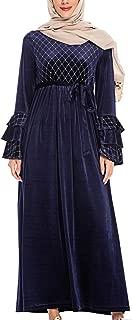 KRUIHAN Women Muslim Plus Size Dress - Ladies Long Sleeve Abaya Kaftan Velvet Full Length Islamic Clothing