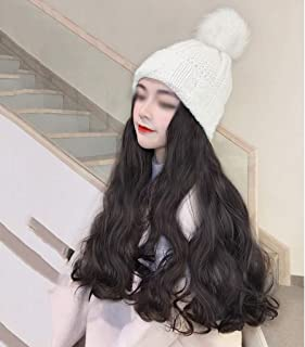 SHYPT Perruque pour Femmes avec Chapeau Long Naturel Fausses Cheveux synthétiques température Haute température Chapeau Ch...
