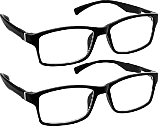 Computer Reading Glasses 0.50 Black 2 Pack Protect Your Eyes Against Eye Strain, Fatigue and Dry Eyes from Digital Gear with Anti Blue Light, Anti UV, Anti Glare, and are Anti Reflective