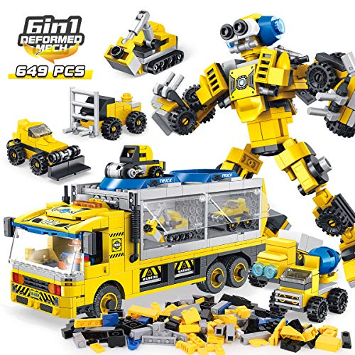 PANLOS STEM Robot Educational Learning Building Bricks Toy Carrier Truck Set Vehicles Gifts for Kids Boys and Girls Tight Fit and Compatible with All Major Brands (Yellow)