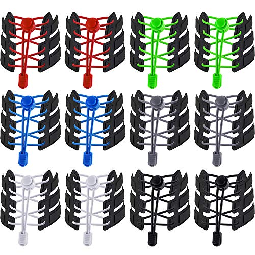 12 Pairs Elastic Shoe Laces No Tie Elastic Shoelaces with Lock Device Adjustable Tieless Rubber Shoe Laces Strings Fits Adults and Kids Boots Board and Casual Shoes (Color B, 43.31 Inch)