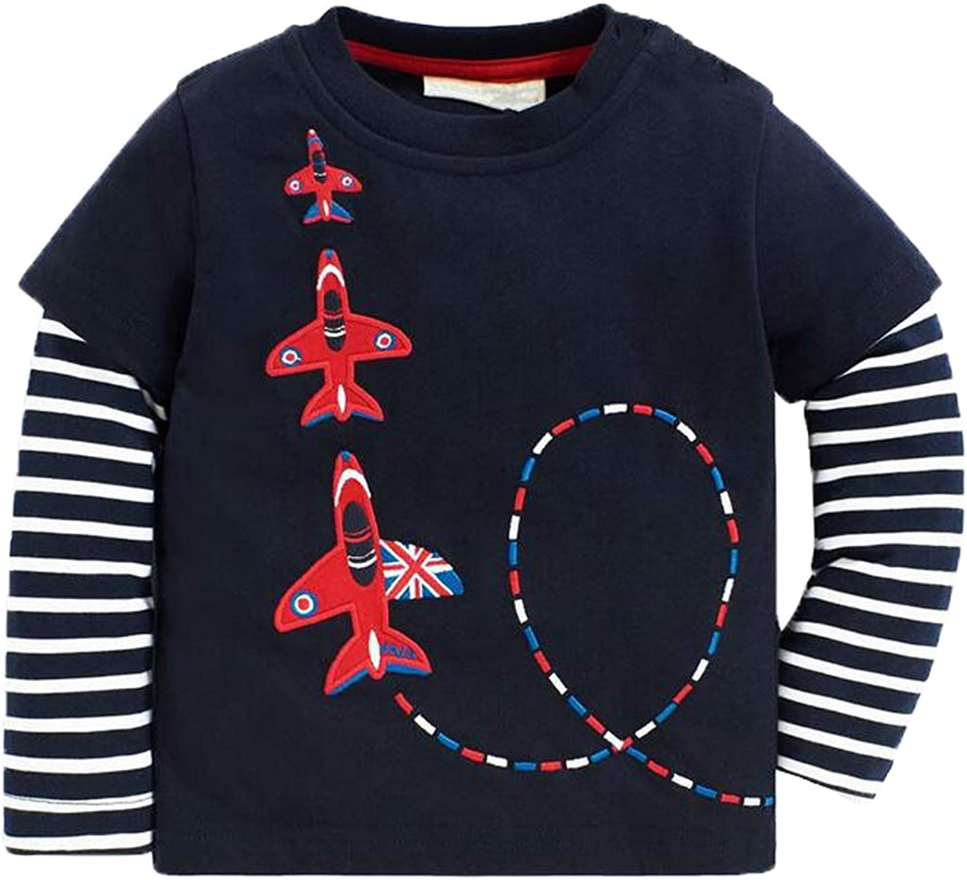 Baby Boys Airplane Long Sleeve T-Shirts Toddler Cotton Shirts Tops Stripe