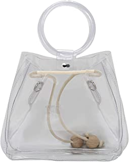 Clear PVC Bag Bucket Bag with PU Pouch inside with Acrylic Handle Clear Purse Transparent Shoulder Bags with Drawstring