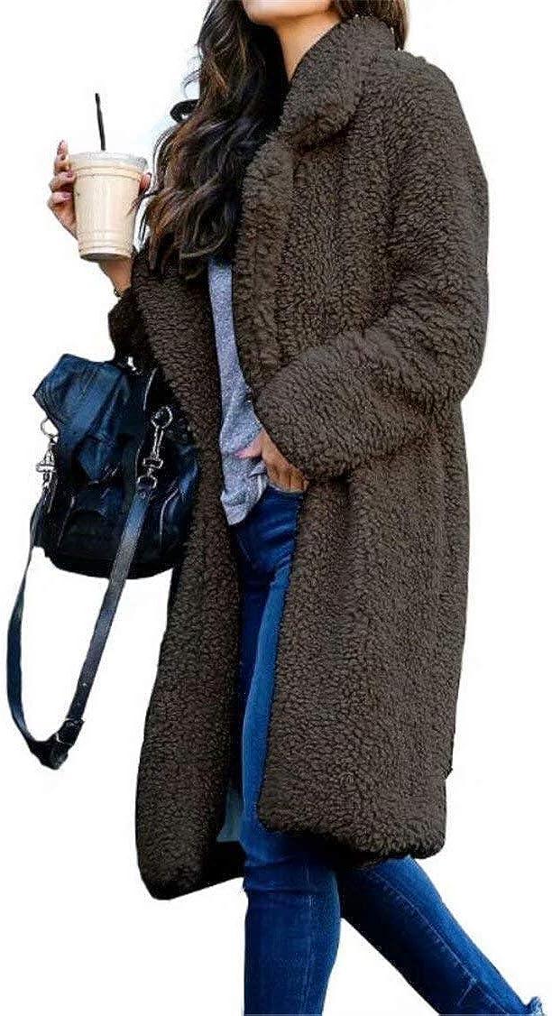 Womens Long Teddy Bear Cardigan Coat Ladies Faux Fur Winter Warm Jacket Outwear with Pockets