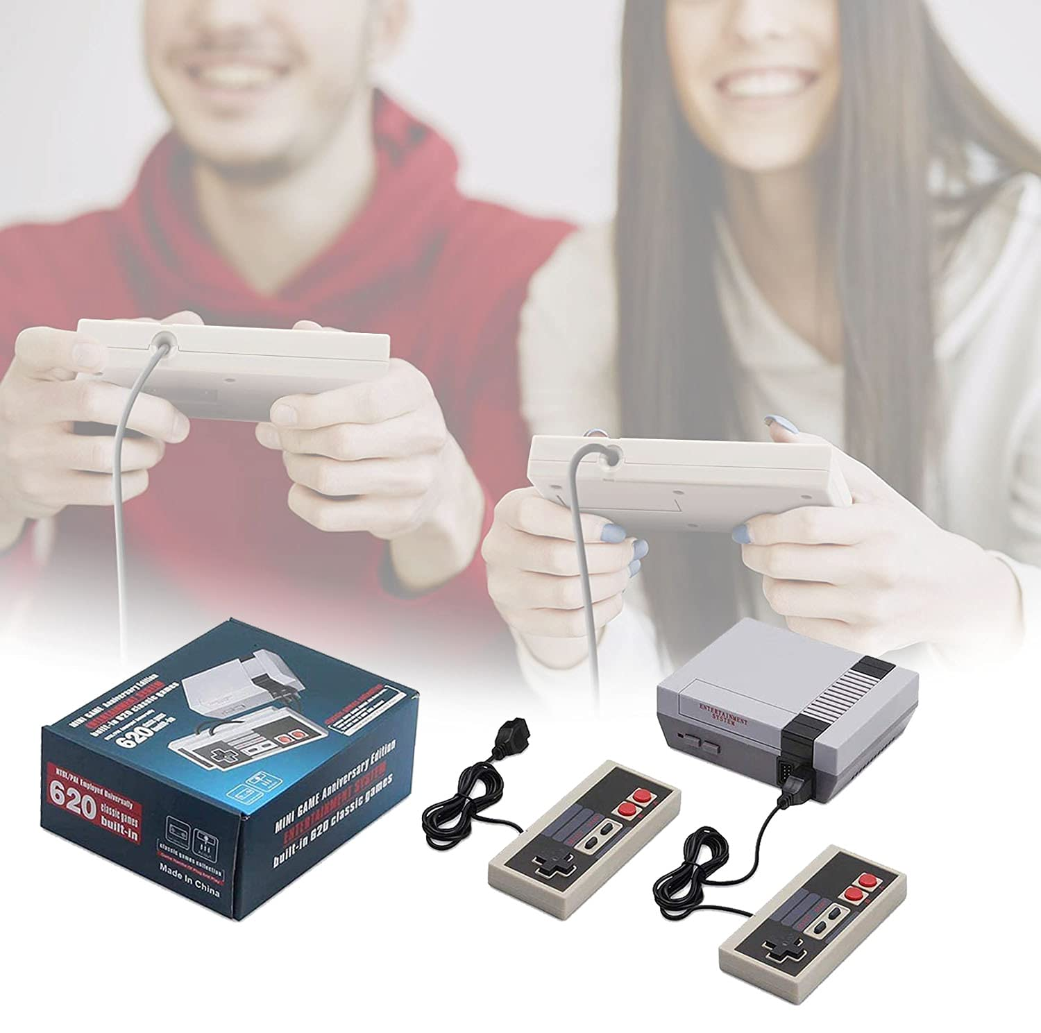 Universal Minions Classic Handheld Game Console,Retro Game Console Built-in 620 Game Handheld Game Console, Video Game Player Console for Family TV Video (Gray)