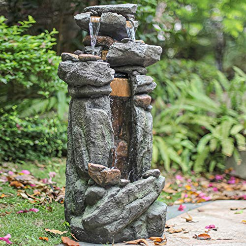 mytunes 4-Tier Rock Water Fountain,Floor Rack Water Fall Fountain with White LED Light for Patio Yard Garden Lawn-42.13'