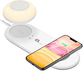 1byone Luz de noche LED con cargador inalámbrico rápido, lámpara de mesita de noche Smart Touch para dormitorio, lámpara portátil magnética con gancho, luz regulable recargable para iPhone, Android