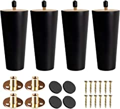 4 inch Solid Wood Furniture Legs, Btowin 4Pcs Mid-Century Modern Black Wooden Replacement Feet with Threaded 5/16'' Hanger...