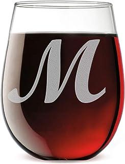 ed7f2fe76dd Etched Monogram 17oz Stemless Wine Glass (Letter M)