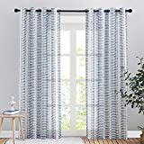 PONY DANCE Navy Blue Sheer Curtains - Semi Sheers Voile Window Curtains Natural Decor Faux Linen Textured with Slub Striped Pattern for Patio Living Room, 50 Wide x 84 Long, 2 PCs