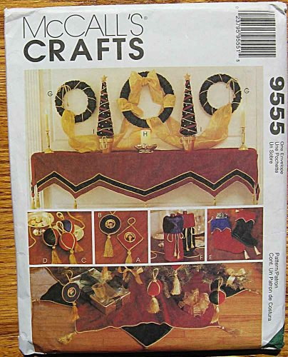 McCall's 9555 Sewing Craft Pattern ~ Christmas Decorating, Tree Skirt, Mantel Cover, Wreath, Stocking, Bottle Gift Bag, Ornaments, Wall Hanging