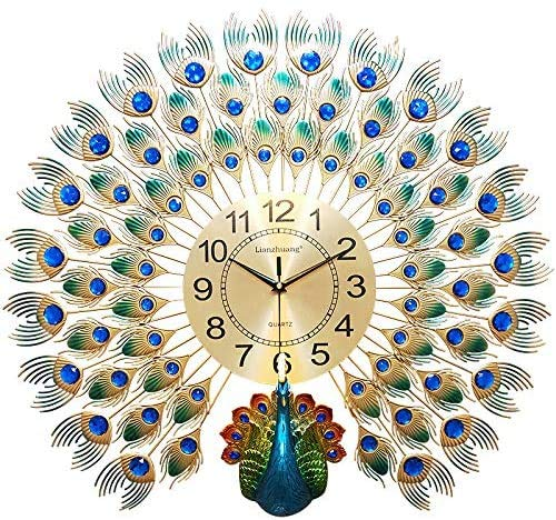 ZHIRCEKE European Style Peacock Wall Clock, Household Crystal Wall Clock, Main Decoration Living Room Modern Creative Clock and Home Silent Wall Clock