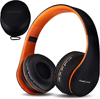 PowerLocus Wireless Bluetooth Over-Ear Stereo Foldable Headphones, Wired Headsets with Built-in Microphone for iPhone, Samsung, LG, iPad (Orange)