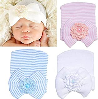 Aijian Newborn Hospital Hat Infant Baby Hat Cap with Big Bow Soft Cute Knot Nursery Beanie (3 Pack Bow Knit Flower / 0-3 Month)