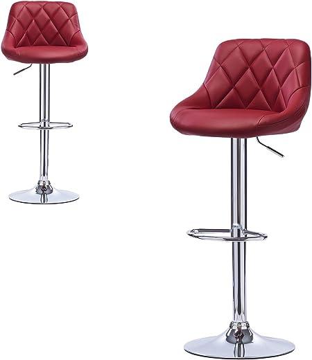 Lestarain Barstuhl Barhocker 2er Set Barstühle, Trensenstuhl verstellbare Höhe aus Kunstleder,Bordeaux