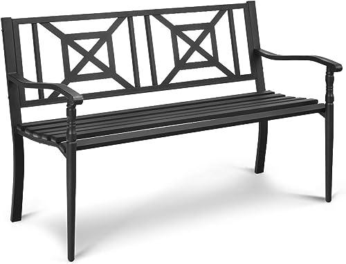 2021 Giantex Patio Garden Bench, Heavy-Duty Park Bench w/Powder online sale Coated Steel Frame, Elegant Loveseat w/Decorative online Backrest & Ergonomic Armrest for Outdoor Garden, Backyard, Lawn, Porch, Path (Black) online