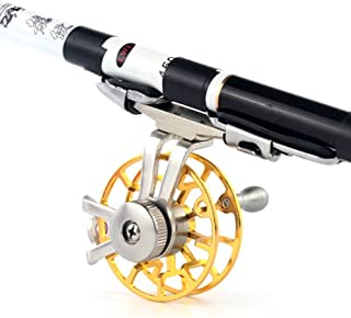 Quaanti Aluminum Fly Fishing Reel Diameter 55mm Size Right Hand Retrieve Right Handed Fly Fishing Tackle Accessories Articulos (Gold)