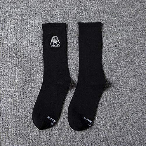 RTESBGH Neuheit Socken,Schwarze Unterseite Star Wars Muster Ovelty Bequeme Weiche Socken Farbe Socken Lang Skateboard Hip Hop Socke Star Wars Stickerei Unisex Harajuku (3 Ps)