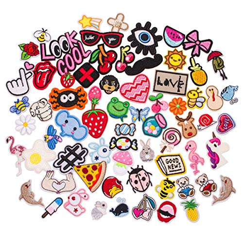 U-Sky 70pcs Assorted Iron on Patches for Clothing Cool Cute Sew on Patch Appliques for Jeans Jackets Vest Backpacks Hats Caps Kids Boys Girl, Strawberry Lips Pizza Candy Rabbit Fruits Animals and More