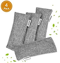 Yumybom Natural Activated Bamboo Charcoal Bags 4 Pack, Home Air Purifying Bag, Car Odor Eliminator, Shoe Deodorizer, Closets Odor Absorber