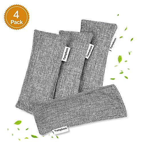 Yumybom Natural Activated Bamboo Charcoal Bags 4 Pcak, Home Air Purifying Bag, Car Odor Eliminator, Shoe Deodorizer, Pet Area Air Freshener, Closets Odor Absorber …