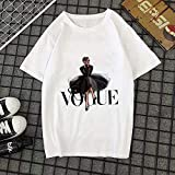 DAJUZI Verano Nueva 2020 Moda Camiseta Mujer Vogue Letra Impresa Harajuku Camiseta O-Cuello Camiseta de Manga Corta Blanco Tops Ropa Femenina S 20735