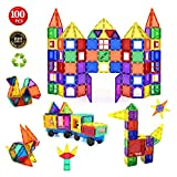 Children Hub 100pcs Magnetic Tiles Set - Educational 3D Magnet Building Blocks - Building Construction Toys for Kids - Upgraded Version with Strong Magnets - Creativity, Imagination, Inspiration