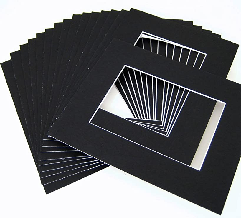 Pack of 25 11x14 BLACK Picture Mats Mattes with White Core Bevel Cut for 8x10 Photo + Backing + Bags