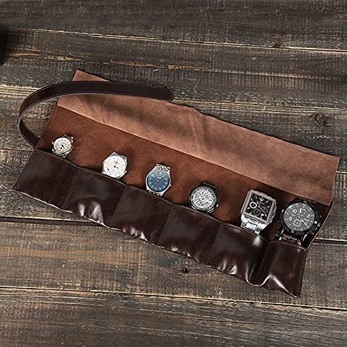 GHQBDMG Caja de reloj de 6 ranuras, organizador de reloj de cuero de cera de aceite, hecho a mano, bolsa de almacenamiento de reloj de viaje portátil con paquete múltiple(Café)