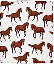 INTERESTPRINT Horses Running Horses and Riders Cozy Soft Microfleece Travel Blanket, Travel or Lounging at Home 50 x 60 Inches
