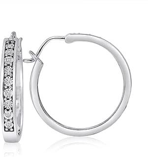 Sterling Silver 1/10CTTW Diamond Hoop Earrings