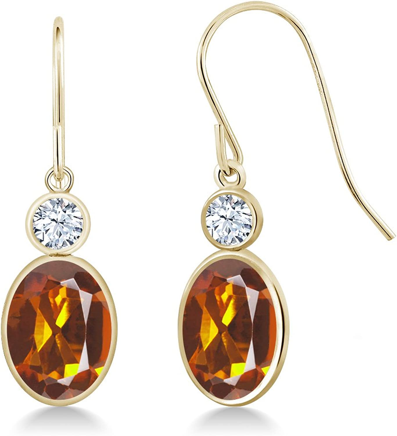 2.46 Ct orange Red Madeira Citrine Created Sapphire 14K Yellow gold Earrings