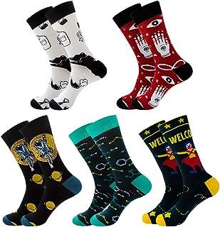 Xiangmall, 5 Pares Calcetines Divertidos para Hombre Calcetines Coloridos Hombre Algodon Calcetines Estampados Año nuevo Día de San Valentín Cumpleaños Regaloes de Navidad
