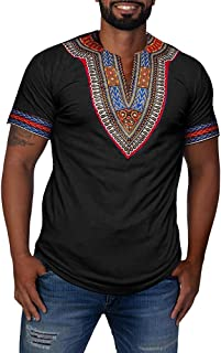 Mens African Dashiki Shirts Summer Fall Short Sleeve Graphic Print Top Tees Fashion V Neck T-Shirt