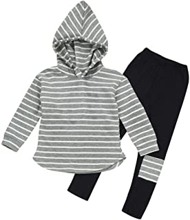 Toddler Kids Girl Striped Long Sleeve Hoodie Pants Outfits Fall Winter Clothes Set for 3-7Y