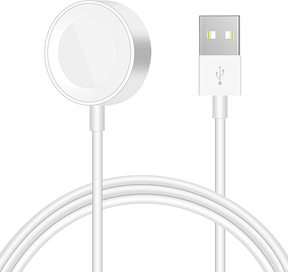 iWatch Ladekabel, Magnetisches Ladegerät auf USB, Wireless Charging Cable Kompatibel für Apple Watch 6/5/4/3/2/1 (white)