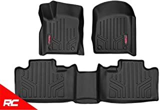 Rough Country Floor Liners Compatible w/ 2013-2016 Jeep Grand Cherokee WK2 1st 2nd Row Black Weather Floor Mats M-60300